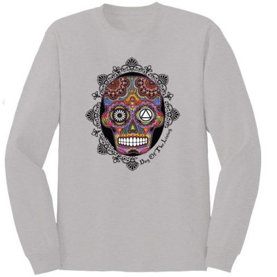 Sugar Skull Silver Long Sleeve Tee – New!