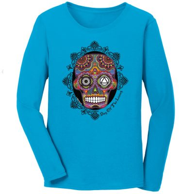 Sugar Skull Turquoise Long Sleeve Tee – New!