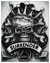Surrender Skull Lapel Pin