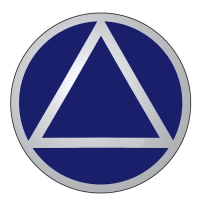New! Service Symbol AA Blue/Chrome Sticker