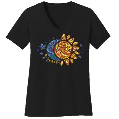 New! ODAT Sun and Moon Black V-Neck Tee