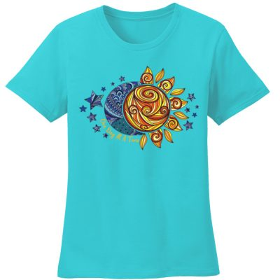 New! ODAT Sun and Moon Turquoise Tee