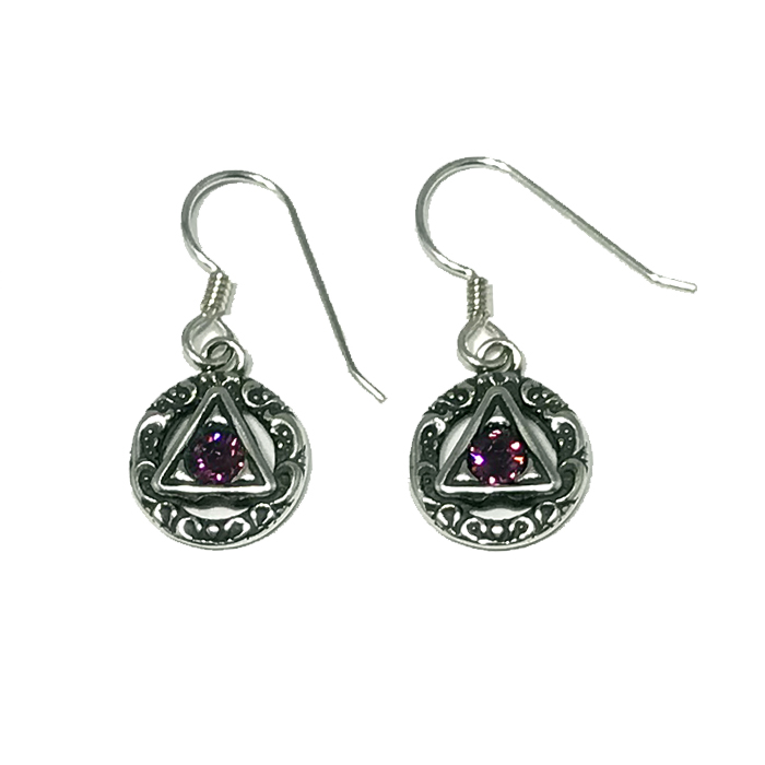 Scrolled Symbol with Stone Earrings