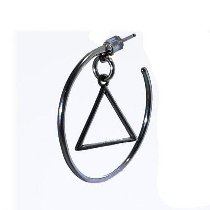 New! Circle Triangle Hoop Earrings
